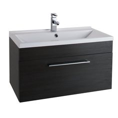 Cassellie Idon Wall Hung Vanity Unit with White Basin - Wide - Black Ash - The Idon Wall Hung Vanity Unit is an exciting Furniture rang Wall Hung Vanity, Vanity Units, Basin, Drawers, Black And White, Bathroom, Home Decor, Washroom, Decoration Home