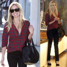 Kristin Cavallari Shops in LA Wearing Red Plaid Elizabeth and James Shirt and Alexander Wang Stud Bag