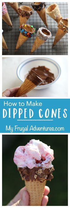 Spring Garden Ice Cream Party – My Frugal Adventures How to Make Dipped Ice Cream Cones- perfect for summer parties or ice cream parties. So simple with lots of flavor combination ideas! Dips Ice Cream, Ice Cream Treats, Ice Cream Party, Ice Cream Recipes, Ice Cream Sundaes, Ice Cream Cones, Köstliche Desserts, Frozen Desserts, Frozen Treats
