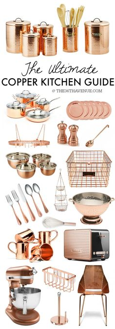 Copper Kitchen Decor - These is the Ultimate Copper Kitchen Guide. Everything you need to give your kitchen a fresh, trendy, and gorgeous new look! If you like gold rose tones you are going to love this! Copper Kitchen Decor, Copper Decor, New Kitchen, Kitchen Ideas, Copper Kitchen Accents, Country Kitchen, Copper Accents, Copper Kitchen Accessories, Funny Kitchen