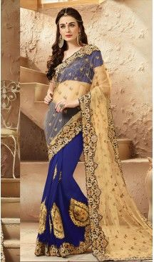 Royal Blue Color Net,Viscose Satin Designers Wedding Bridal Sarees with Stitched #wedding, #sarees, #onlineshopping, #collection, #designer, #boutiques, #sell, #india, #heenastyle, #fashion, #bridel, #saris, #blouse, #reception, #party, #ringceremony, #engagement, @heenastyle , #traditional