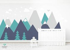 Mountain Woodland Wall Decal Art Wall -Consider for Scout event