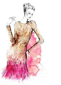 Studio illustration sketch of the Matthew Williamson Gold Liquid Sequin Feather…