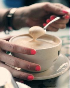 Highlighter pink nails... and a coffee on the side.