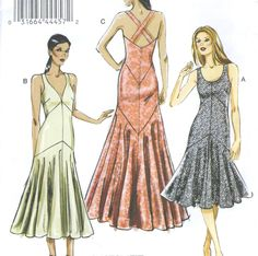 Misses Lined Evening Dress Sewing Pattern Neckline Variations Vogue 8814 Easy | eBay