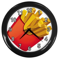 French Fries Plastic Black Frame Battery Operated Novelty Kitchen Wall Clock #CustomMade #Novelty