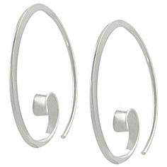 These sterling silver earrings feature a unique design with a highly polished finish.