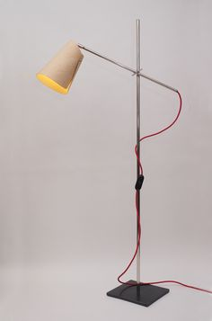 LOCKLAMP MK2 FLOORThe compact fluorescent Locklamp has a birch ply shade, woven cable, nickel ...