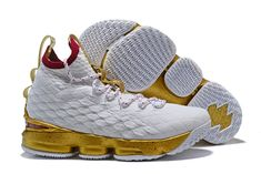 "22770eba6ee 2018 Men s Nike LeBron 15 ""White Gold"" Basketball Shoes Free Shipping Nike  Lebron"