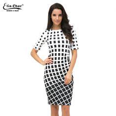 0eff01dd3c0e Geometric Dress Tunic Women s Clothing Plus Size Spring OL Dresses For Work  Fashion Black White Dress
