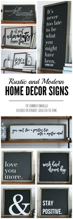 Beautiful rustic spring signs from The Summery Umbrella which offers rustic home decor with a twist of modern appeal.