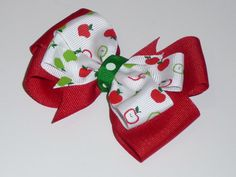 Red and Green School Hair Bow by RedandPinkBoutique on Etsy, £2.00