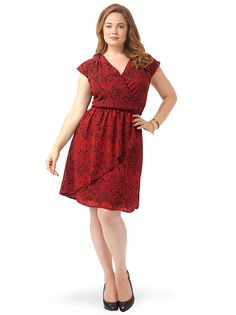 Size 24. $36 shipped Red Floral Cascade Dress