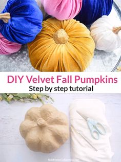DIY Velvet Pumpkin Fall Craft DIY Velvet Pumpkin Fall Craft Abbi Kirsten at CC Designs Paper Flower Templates 038 Tutorials AbbiKirsten Falling for Autumn nbsp hellip room decor diy videos Velvet Pumpkins, Fabric Pumpkins, Fall Pumpkins, Home Bild, Mothers Day Crafts For Kids, Décor Boho, Diy Pumpkin, Fall Pumpkin Crafts, Fall Projects
