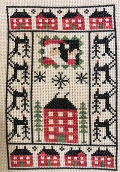 completed cross stitch Prairie Schooler Christmas Santa sampler with reindeers Christmas Charts, Christmas Past, Christmas Cross, Santa Cross Stitch, Sewing Patterns, Cross Stitch Collection, Holiday Crafts, Embroidery Stitches, Embroidery