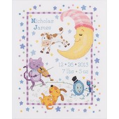 The Hey, Diddle Diddle Counted Cross Stitch Birth Record Kit from Bucilla includes 14-count white Aida, cotton embroidery floss, needle, floss separator, instructions and chart. Hey, Diddle Diddle is a beautiful embroidery design based on the classic nursery rhyme. Foundation fabric is 100% cotton Aida. Stitched size measures 10