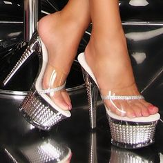 Crystal Silver Plateau Sexy Legs And Heels, Hot High Heels, Sexy Boots, Bedroom Heels, Slipper Boots, Heeled Mules, Stiletto Heels, Footwear, Shoes