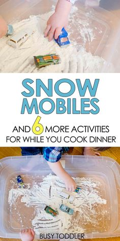 Snow Mobiles Sensory Activity: A fun activity for kids to play while you make dinner; easy toddler activity