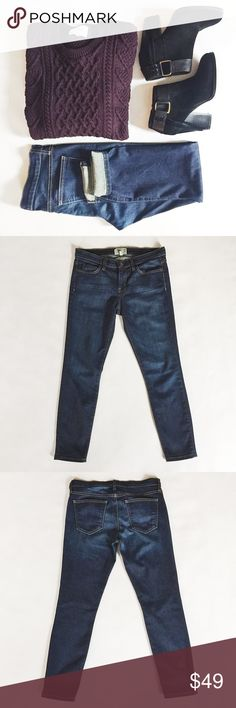 """Current/Elliott Stilletto Jeans Current/Elliott Stilletto Jeans in Tavern, a dark wash featuring slightly tapered leg.  Comfy denim with plenty of stretch.  Pre-loved but in excellent condition.  No holes, stains or tears.    •  BUNDLE with boots to SAVE and GET THE LOOK!  •   Measurements laying flat: Waist (across): 15.25""""  Hips: 18""""  Inseam: 26.5"""" Current/Elliott Jeans Skinny"""