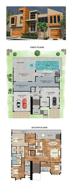 Modern House Plan 71533   Total Living Area: 2989 SQ FT, 3 bedrooms and 3.5 bathrooms. #modernhome