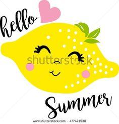 cute cartoon lemon, smiling face, summer graphics, vectors, illustrations
