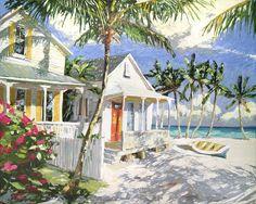 Peter Vey — Gallery On Greene Watercolor Landscape, Watercolor Paintings, Caribbean Art, Tropical Art, Summer Art, Beach Art, Urban Art, Pretty Pictures, Art Projects