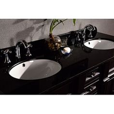 @Overstock - Give your bathroom a whole new look with this antique-black bathroom double vanity with a granite top. This solid hardwood vanity with brushed nickel hardware gives you extra storage that adds sturdy function with elegant design to Vanity