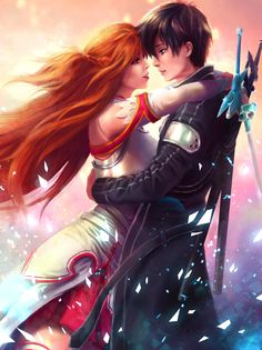 Kirito and Asuna by shobey1kanoby.deviantart.com on @deviantART
