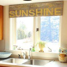 Kitchen typography window treatment