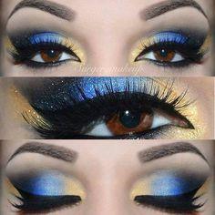 maquiagem brasil (podia ser verde e amarelo mas tambem tem azul na bandeira do brasil)