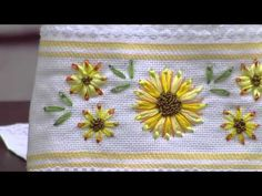 Xia Home Fashions Handmade Ribbon Embroidery Flower with Hemstitch Floral Tea Towels, 14 by Set of 4 - Embroidery Design Guide Ribbon Embroidery Tutorial, Diy Embroidery Kit, Creative Embroidery, Simple Embroidery, Silk Ribbon Embroidery, Embroidery Designs, Embroidery Hearts, Cross Stitch Embroidery, Embroidered Cactus
