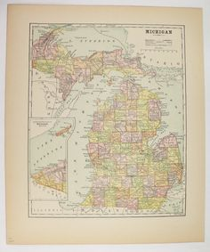 Michigan Map Upper Peninsula Map UP, Antique MI Map 1896 Vintage Map of Michigan, Gift for Guy, Office Art Gift for Coworker, Old Color Map available from OldMapsandPrints.Etsy.com #Michigan #GreatLakesMap