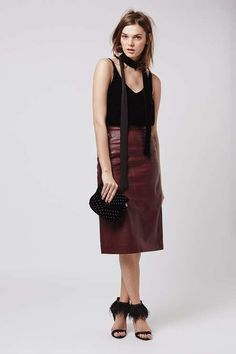 Leather Zip Pencil Skirt