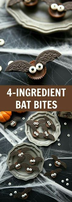 The BEST Halloween Party Recipes {Spooktacular Desserts, Drinks, Treats, Appetizers and More!} Easy Four Ingredient Halloween Treats - Mini Bat Candy Bites Recipe via Chelseas Messy Apron -Fun Halloween Party Treats and Desserts Recipes Fete Halloween, Halloween Goodies, Halloween Food For Party, Halloween Bats, Diy Halloween Treats, Halloween Dessert Recipes, Halloween Sweets, Halloween Cupcakes Easy, Easy Halloween Appetizers