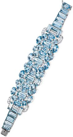 Diamonds in the Library: Art Deco aquamarine and diamond bracelet by Cartier.