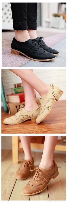 Casual comfy round toe Oxford Women shoes. Find them in black, beige and brown colors at €29.32