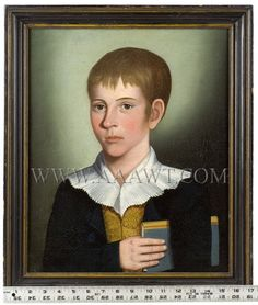 Portrait of a Boy Holding Book, Benjamin Greenleaf Attributed to BENJAMIN GREENLEAF (1769 to 1821) Probably Massachusetts, circa 1818 Oil on canvas