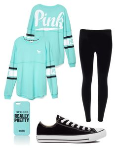 """Untitled #22"" by mrsjackson602 ❤ liked on Polyvore featuring Victoria's Secret PINK and Converse"