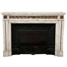 Louis XVI Style Fireplace with Bronze Sculptures made of Arabescato Marble | From a unique collection of antique and modern fireplaces and mantels at https://www.1stdibs.com/furniture/building-garden/fireplaces-mantels/