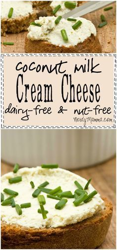 Coconut Milk Cream Cheese {Vegan & Nut-Free} - Nerdy Mamma I can have all the wonderful beagles, english muffins and banana bread I want.all because of this awesome dairy-free and nut-free recipe for Coconut Milk Cream Cheese Vegan Cheese Recipes, Vegan Foods, Dairy Free Recipes, Vegan Gluten Free, Vegan Lunches, Coconut Recipes Vegan, Dairy Free Meals, Dairy Free Dips, Dairy Free Sauces