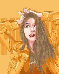 Illustration Art Drawing, Portrait Illustration, Minion Wallpaper Iphone, Cover Wattpad, Arte Black, Girly Drawings, Vector Portrait, Girly Pictures, Digital Art Girl
