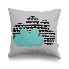 Mabel and Bird . Cloud Cushion . Grey with Half Moon / Mint Green