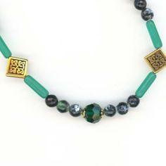 Long Green Celtic Necklace with Vintage Swarovski Emerald Art 5000 Crystals, Gemstones, Celtic Symbols #celtic jewelry #st patricks day #celtic knot jewelry