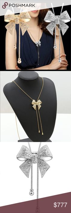 COMING SOON Crystal Bowknot Necklace Long crystal Bowknot necklace. Very comfortable to wear. Choose a color silver or gold. NWOT from wholesaler. Check out my other items for a bundle discount. PRICE FIRM UNLESS BUNDLED!!! Jewelry Necklaces