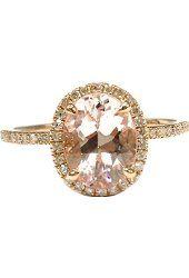 Oval Morganite Engagement Ring Pave Diamond Wedding 14K Rose Gold 6x8mm