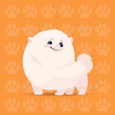 Dog Pomerian Happy Cartoon Sitting Over Footprints Background Cute Pet Flat Vector Illustration