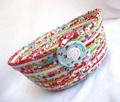 Handmade Scrappy Basket, Modern Red Fruit Bowl, Lovely Red and Aqua Fruit Basket, hand wrapped and coiled fabric basket