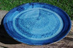 Large hand made potters wheel clay plate in light blue dark blue and black by bethpiggott. $9.50, via Etsy. www.etsy.com/shop/bethpiggott