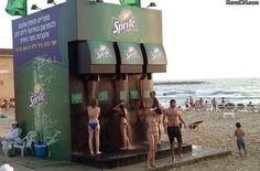 Sprite soda rolls out a cool promotional campaign with this beach side shower. The show is designed to look like a giant Sprite beverage dispenser. Sprite will be setting this shower station on popular beaches in Brazil and Israel. Guerilla Marketing, Street Marketing, Guerrilla Advertising, Experiential Marketing, Creative Advertising, Advertising Design, Ads Creative, Advertising Campaign, Marketing Ideas