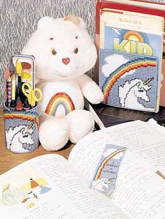 Magical Unicorn,sure to brighten your Childs room desk set consists of pencil holder,bookmark,& book ends. Plastic Canvas Tissue Boxes, Plastic Canvas Crafts, Plastic Canvas Patterns, Annie's Crochet, Crochet Crafts, Rainbow Brite, Fun Projects, Project Ideas, Craft Ideas
